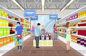 Super martket clipart jpg free People at Supermarket on - royalty-free vector clipart jpg free