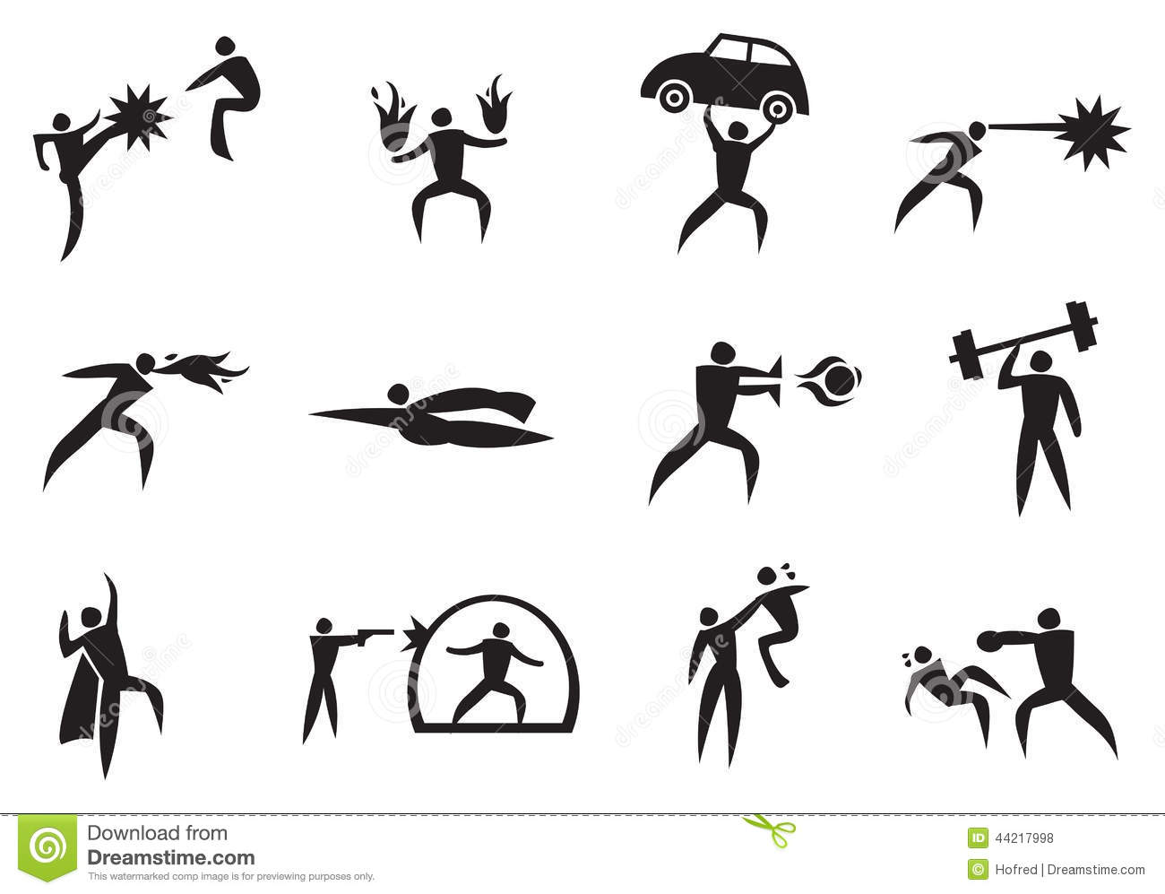 Super powers clipart banner black and white download Super Hero With Super Power Icon Set Stock Vector - Image: 44217998 banner black and white download