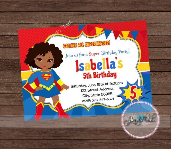Supergirl save a child on the street clipart royalty free stock Super Girl Party Invitation, African American Supergirl ... royalty free stock