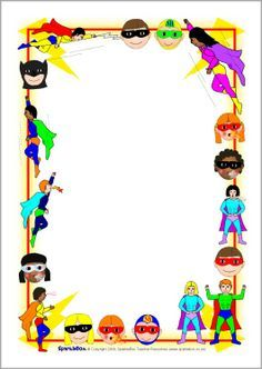 Superhero banner clipart clipart library FREE superhero editable border paper...Superhero A4 page ... clipart library