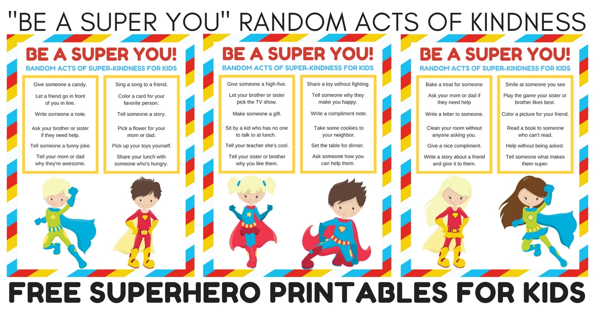 Superhero banner clipart clip free Be a Super You Random Acts of Kindness for Kids Printable ... clip free