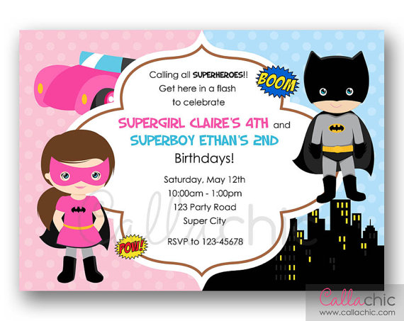 Superhero boy and girl clipart 1 color svg royalty free library Superhero Birthday Invitation PRINTABLE - Twin / Joint / Split ... svg royalty free library