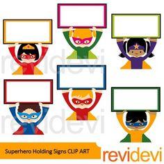 Superhero boy and girl clipart 1 color clip art freeuse stock Superhero Holding Number Clip Art - Math Numbers commercial clipart clip art freeuse stock