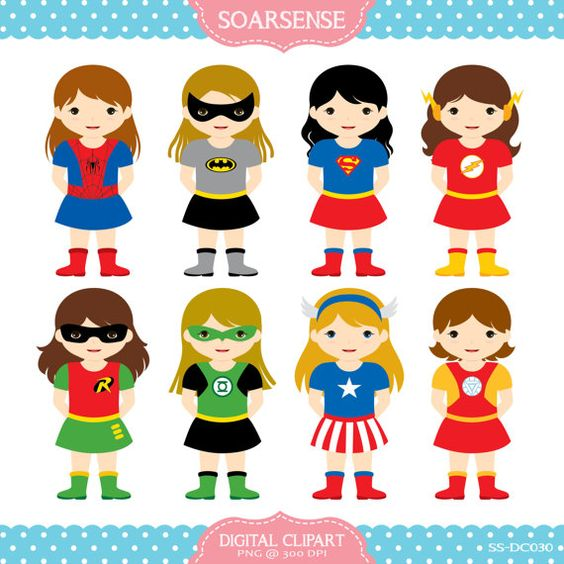 Superhero boy and girl clipart 1 color picture transparent Girl Superheroes Clipart 1 by soarsense on Etsy, $5.00   Clip art ... picture transparent