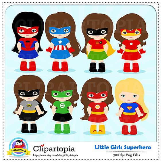 Superhero boy and girl clipart 1 color picture freeuse Girl Superhero Clip Art / Little Girls Superheroes / Supergirls ... picture freeuse