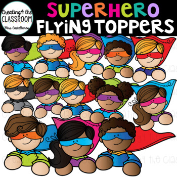 Superhero clipart diverse image royalty free Superhero Kids Toppers Clip Art {Superhero Clip Art} image royalty free
