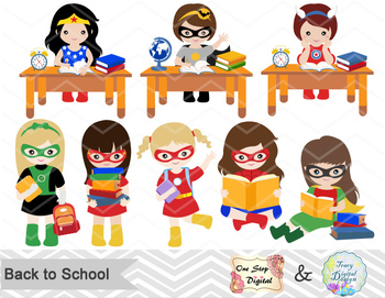 Superhero clipart pre k vector library stock Digital Superhero School Girl Clip Art, Back to School Superhero Girl Clip  Art vector library stock