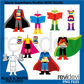 Superhero costume clipart clip download Superheroes clip art - More superhero bodies with books clipart clip download