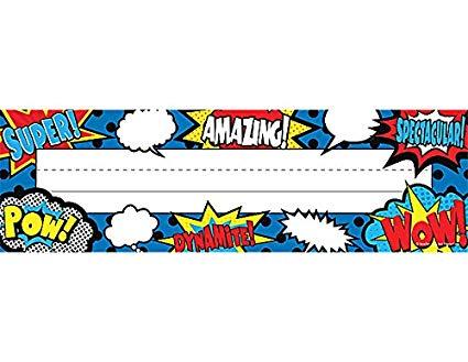 Superhero nameplates clipart free Teacher Created Resources Superhero Flat Name Plates (5588) free
