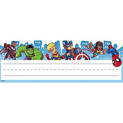 Superhero nameplates clipart banner black and white download Amazon.com : Eureka Marvel Super Hero Adventures Teacher ... banner black and white download