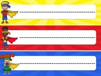 Superhero nameplates clipart graphic library stock Superhero Decor: Name Plates | New England Teacher ... graphic library stock
