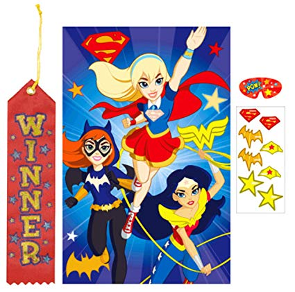Superhero ribbon clipart freeuse download Amazon.com: DC Super Hero Girls Pin The Tail on The Donkey ... freeuse download