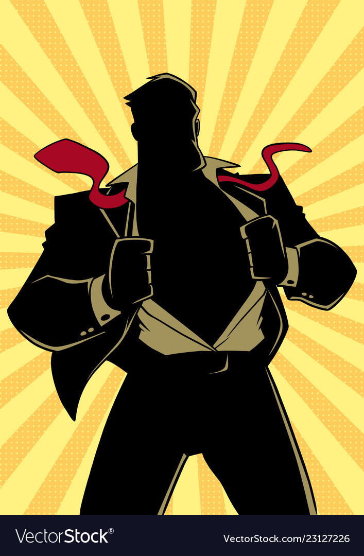 Superhero ripping of tuxido clipart png freeuse library Superhero under cover suit ray light silhouette vector image png freeuse library