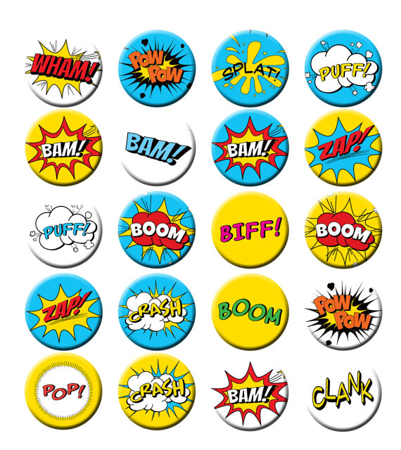 Superhero sounds clipart royalty free library Superhero Comic Book Call Outs Words Fight sounds Pin Back ... royalty free library