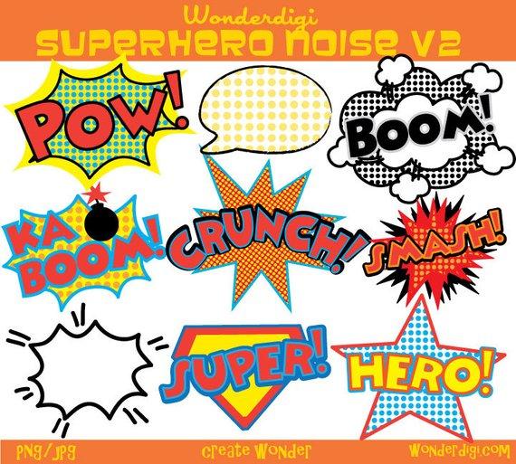 Superhero sounds clipart clip stock Superhero Clipart - Comic Noise clip art - Superhero Sounds ... clip stock