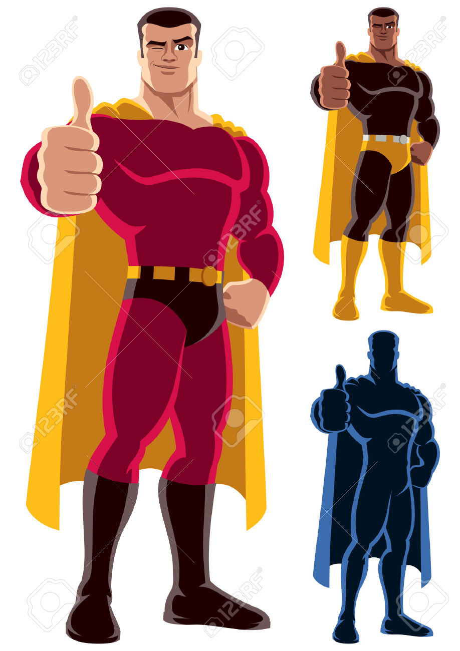 Superhero thumbs up clipart clip library Superhero Giving Thumbs Up. On The Right Are 2 Additional Versions ... clip library