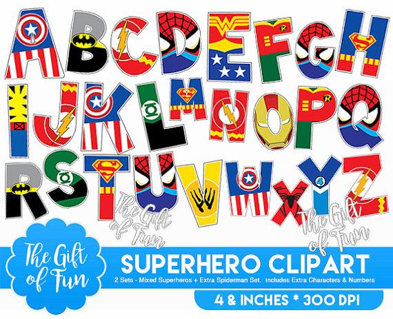 Superman alphabet clipart man clip Superhero Alphabet Clipart Includes Superman Batman clip