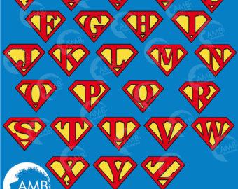 Superman alphabet clipart man clip art freeuse library Superman letters | Etsy clip art freeuse library