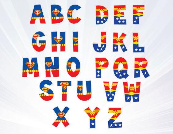 Superman alphabet clipart man banner royalty free download super man - wonder woman Alphabet Clipart - Superhero Alphabet ... banner royalty free download
