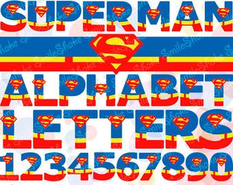 Superman alphabet clipart man download Superman letters | Etsy download