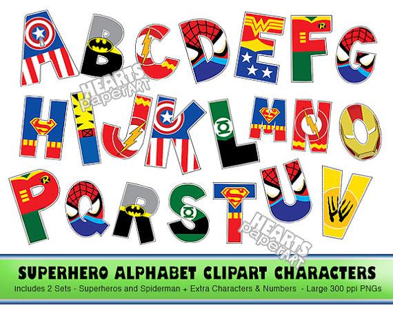 Superman alphabet clipart man png library download SUPERHERO Alphabet Clipart, PNG, Printable, Font, Alphabet, Lego ... png library download
