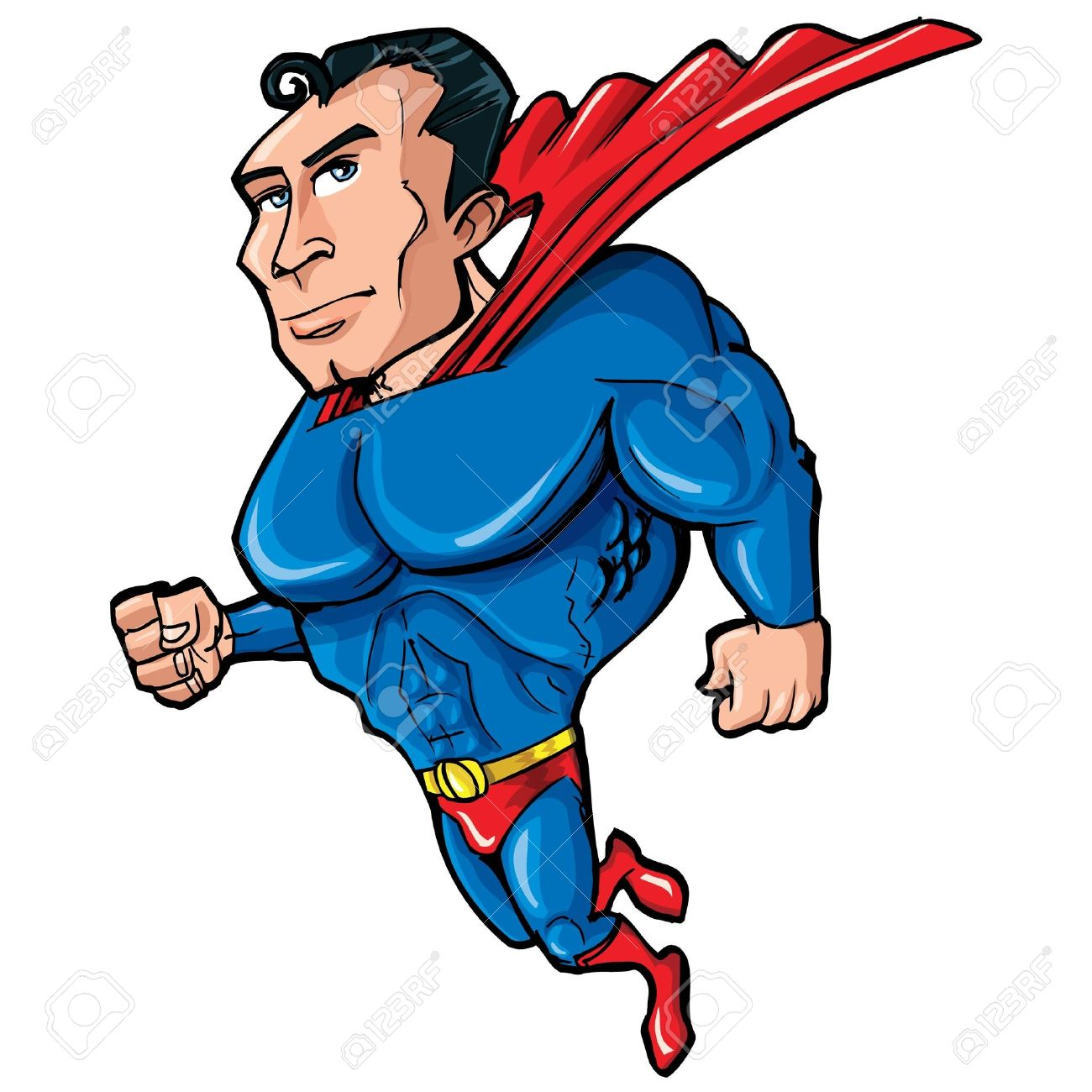 Superman body clipart library Cartoon Superman With Huge Chest. He Is Islotaed On White Royalty ... library