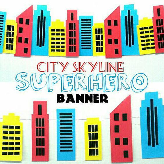 Superman city background clipart svg royalty free library City Skyline Backdrop, Superman, Spiderman, Birthday Decor ... svg royalty free library