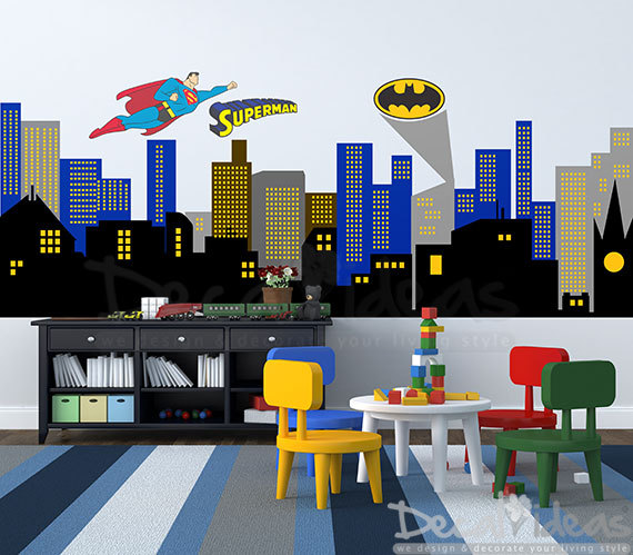 Superman city background clipart royalty free stock City Skyline Decal Superman City Skyline wall by StunningWalls royalty free stock