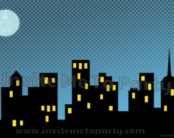 Superman city background clipart png transparent Superhero backdrop | Etsy png transparent