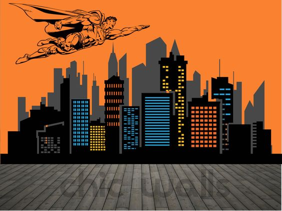 Superman city background clipart picture black and white download Superman City Skyline Superhero Flying Over Buildings Premium ... picture black and white download