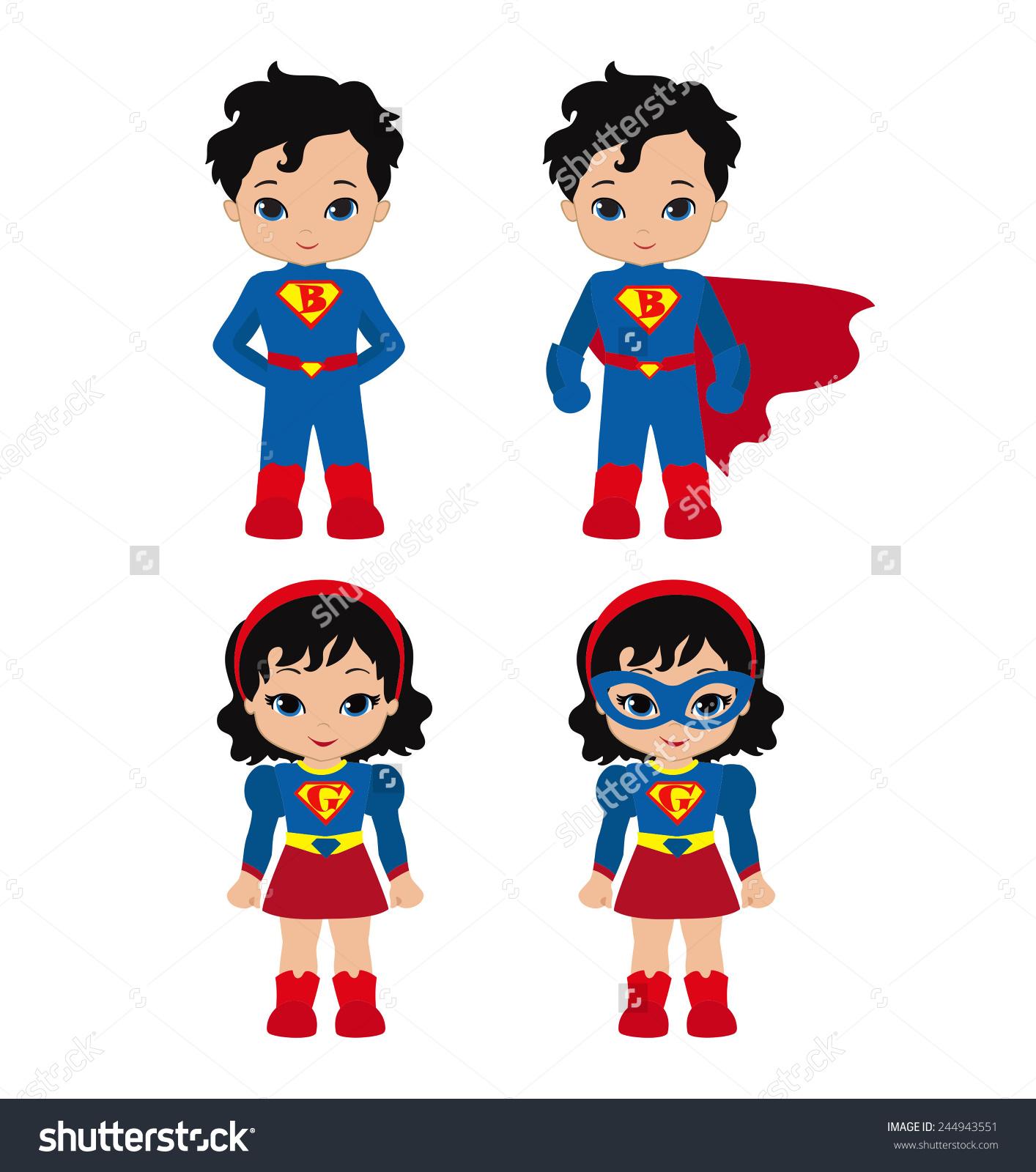 Superman kid clipart girl graphic free download Cute Superhero Girl Boy Vector Clip Stock Vector 244943551 ... graphic free download