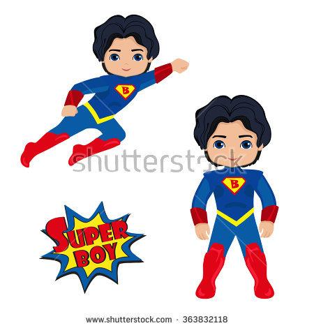 Superman kid clipart girl jpg library library Cute Superhero Girl Boy Vector Clip Stock Vector 244943551 ... jpg library library