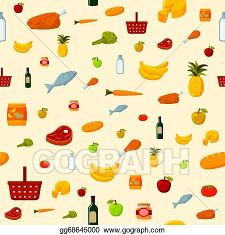 Supermarket background clipart clip transparent stock Vector Stock - Supermarket food items seamless background ... clip transparent stock