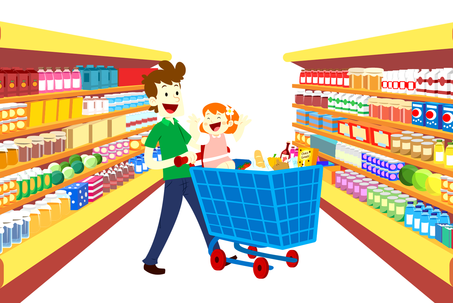 Supermarket background clipart vector library stock Grocery shopping cartoon clipart images gallery for free ... vector library stock