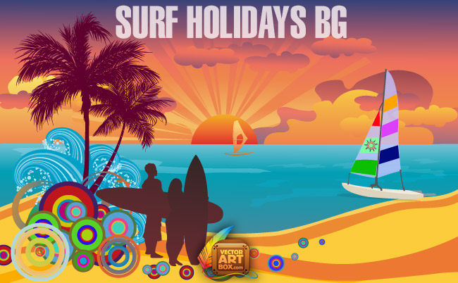 Surf background clipart graphic library stock Surf Holidays Background (18733) Free AI Download / 4 Vector graphic library stock