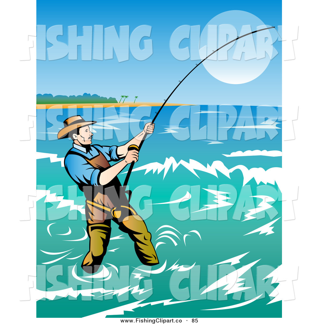 Surf fishing clipart svg royalty free download Clip Art of a Fisherman Casting His Line in the Coastal Surf ... svg royalty free download