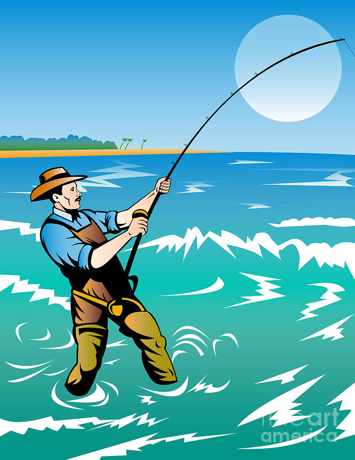 Surf fishing clipart black and white download Fisherman Surf Casting by Aloysius Patrimonio black and white download