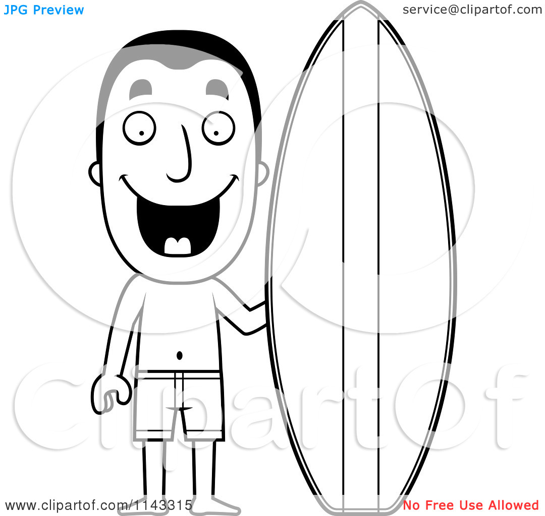 Surfboard clipart black and white freeuse library Cartoon Clipart Of A Black And White Summer Man With A Surf Board ... freeuse library