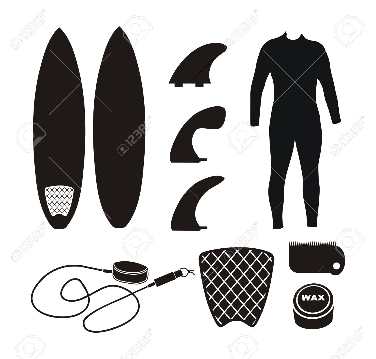 Surfboard clipart silhouette clip library download Surfboard Equipment - Silhouette Royalty Free Cliparts, Vectors ... clip library download