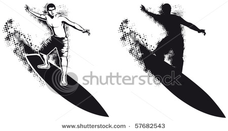 Surfboard clipart silhouette royalty free download of a Surfer on a Surfboard, a Short Board, Riding a Wave in This ... royalty free download