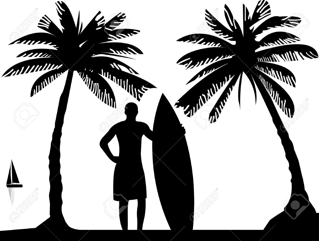 Surfboard clipart silhouette picture royalty free stock Silhouette boy surfboard clipart - ClipartFest picture royalty free stock