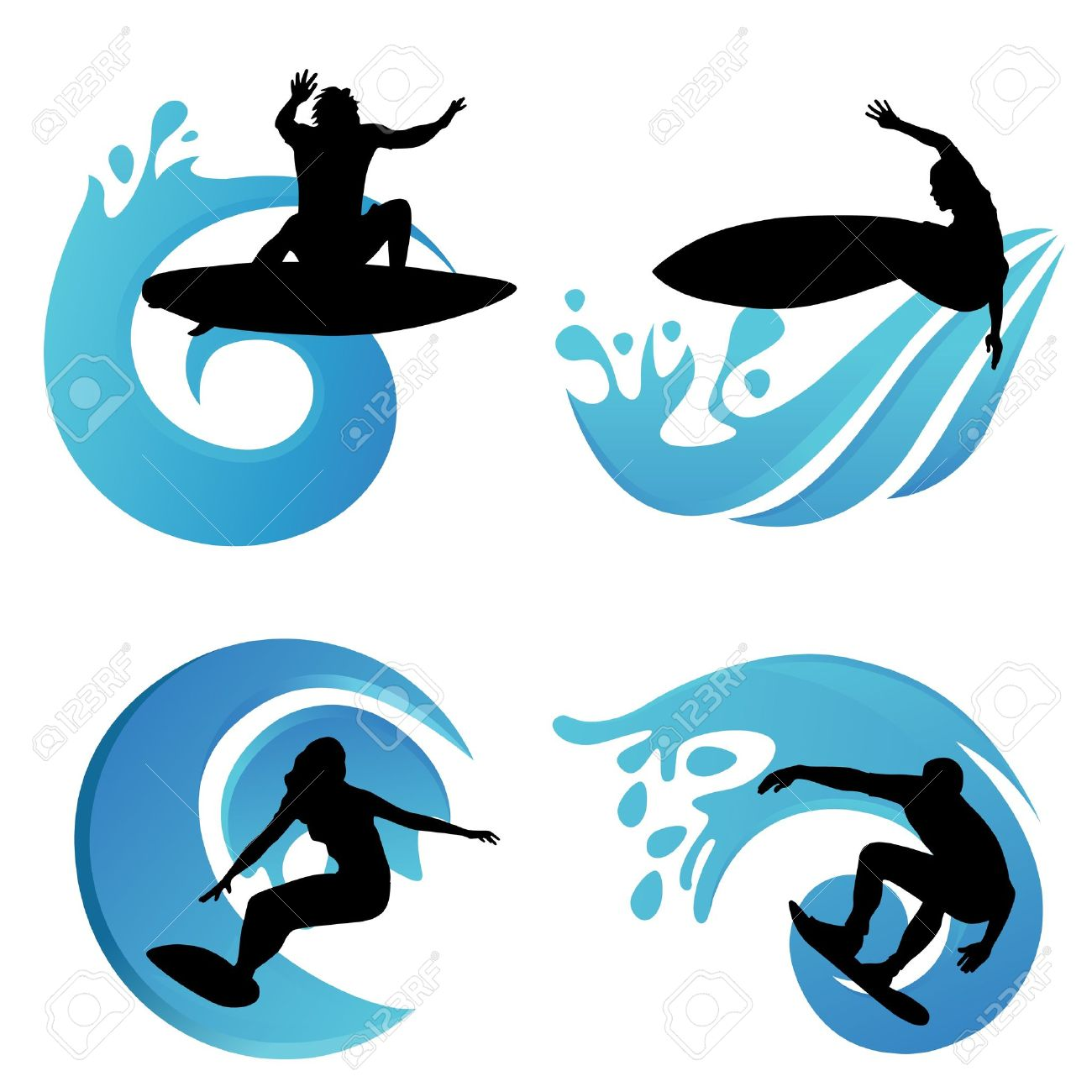 Surfboard clipart silhouette vector free library 7,456 Surf Silhouettes Cliparts, Stock Vector And Royalty Free ... vector free library