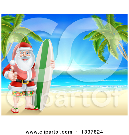 Surfboard clipart standing palm tree png freeuse library Royalty-Free (RF) Surfing Santa Clipart, Illustrations, Vector ... png freeuse library