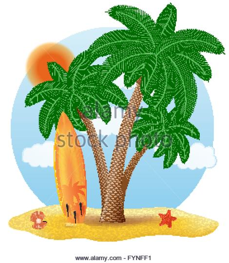 Surfboard clipart standing palm tree png transparent download Surfboard Standing Under Palm Tree Stock Photos & Surfboard ... png transparent download