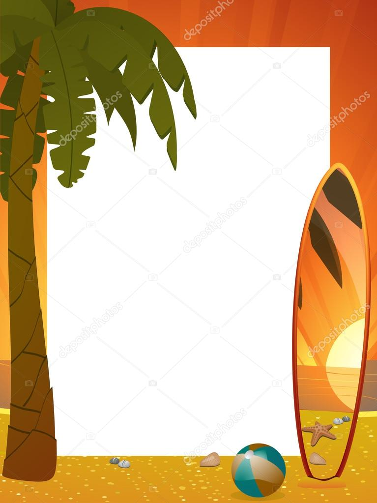 Surfboard clipart standing palm tree svg freeuse Summer sunset border with palm tree and surfboard portrait — Stock ... svg freeuse