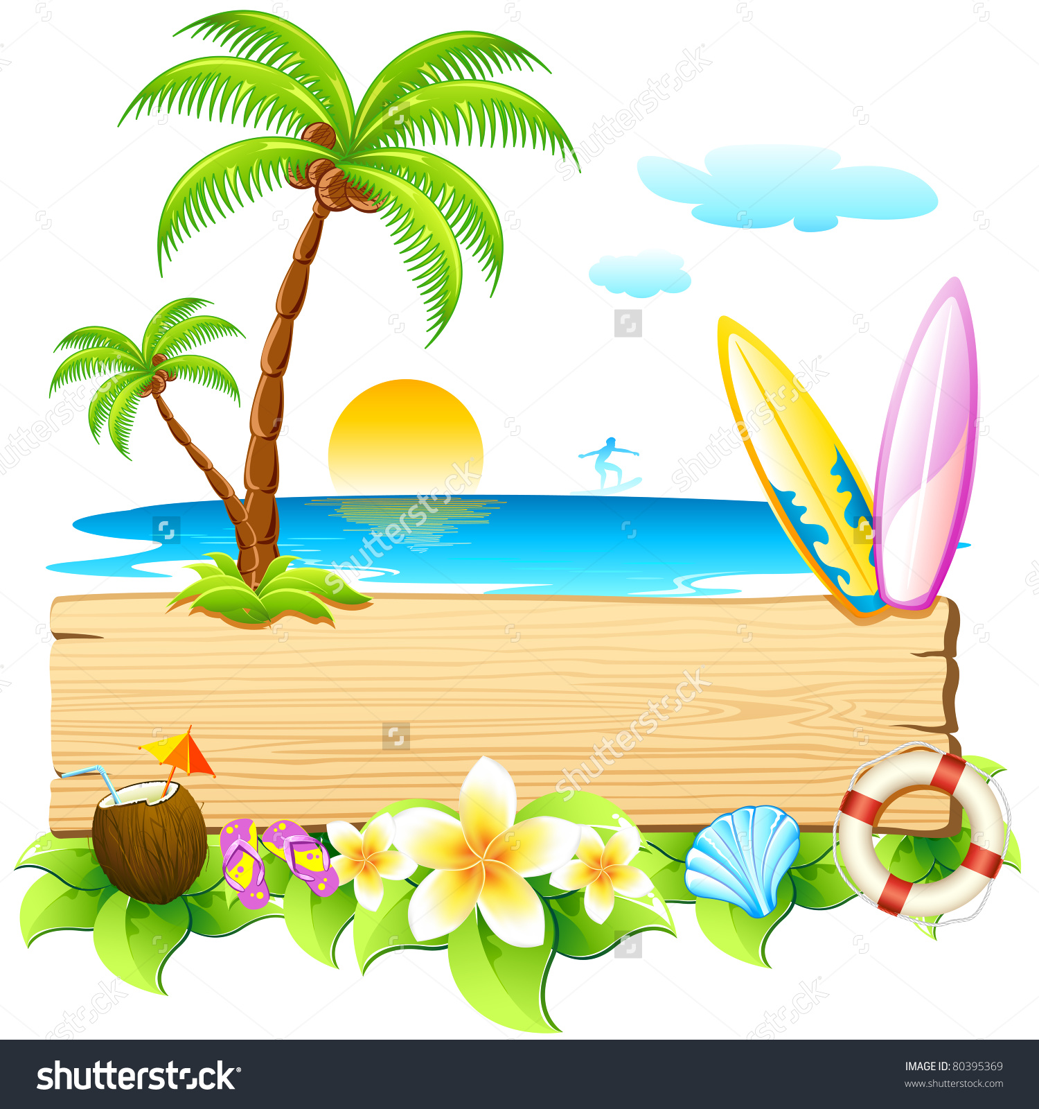 Surfboard clipart standing palm tree banner royalty free library Illustration Surf Board Palm Tree On Stock Vector 80395369 ... banner royalty free library
