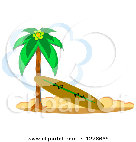 Surfboard clipart standing palm tree clipart freeuse library Royalty-Free (RF) Clipart Illustration of a Grungy Surfboard ... clipart freeuse library