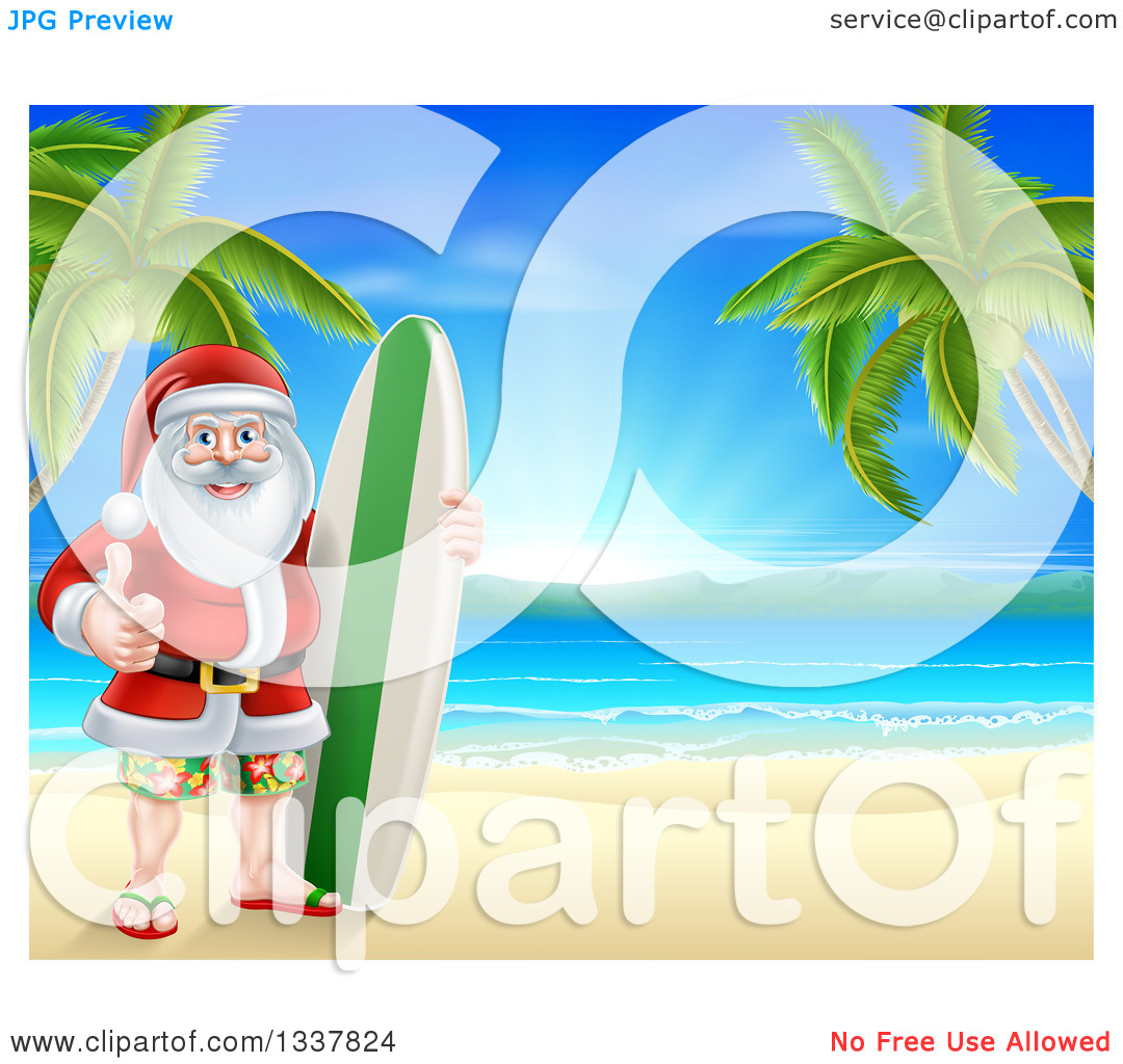 Surfboard clipart standing palm tree picture royalty free download Clipart of a Christmas Santa Claus Giving a Thumb up and Standing ... picture royalty free download