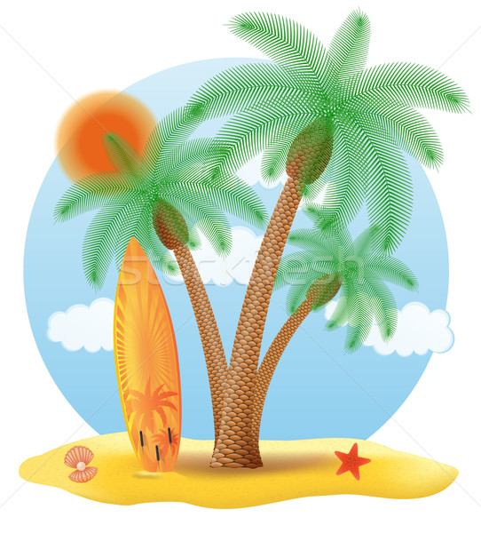 Surfboard clipart standing palm tree vector transparent download surfboard standing under a palm tree vector illustration vector ... vector transparent download
