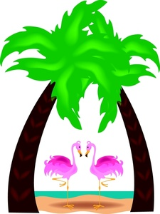 Surfboard clipart standing palm tree image royalty free download Pink Palm Tree Clipart - Clipart Kid image royalty free download